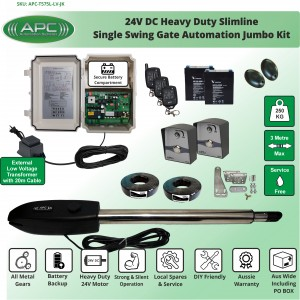 Heavy Duty Slimline Stainless Steel Telescopic Linear Actuator Kit, Single Swing Gate Opener