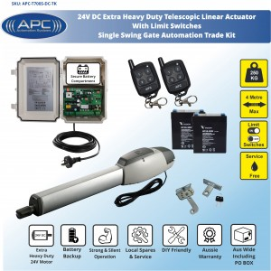 Extra Heavy Duty Telescopic Linear Actuator Kit with Robust Cast Alloy Casing and Magnetic Limits, Single Swing Gate Opener