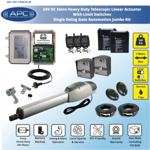 Extra Heavy Duty Telescopic Linear Actuator Kit with Robust Cast, Single Swing Gate OpenerAlloy Casing and Magnetic Limits