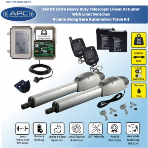Extra Heavy Duty Telescopic Linear Actuator Kit with Robust Cast Alloy Casing and Magnetic Limits Double Swing Gates Automation