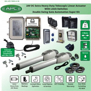 Extra Heavy Duty Telescopic Linear Actuator Kit with Robust Cast Alloy Casing and Magnetic Limits
