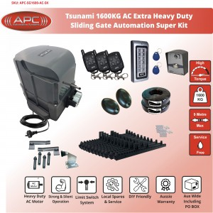 AC Extra Heavy Duty Tsunami 1600KG (1.6 Tonne) Sliding Gate System With Spring Limits
