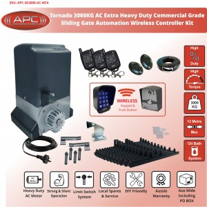 AC Commercial Grade High Duty Tornado 3000KG (3 Tonne) Sliding Gate System With Spring Limits