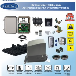 AC to 12V DC Heavy Duty FLOODPROOF Sliding Gate Kit with Magnetic Limit Switches and battery backup