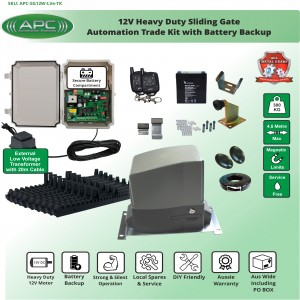 Extra Low Voltage 12V DC Heavy Duty FLOODPROOF Sliding Gate Kit with Magnetic Limit Switches and battery backup