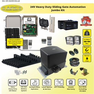 Standalone Solar 24V  Heavy Duty  FLOODPROOF Sliding Gate Kit with Magnetic Limit Switches