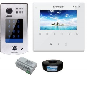 4 Inch White Monitor with 170 Degree Surface Mount Stainless Steel Keypad Outdoor Station