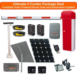 Heavy Duty Standalone Solar Boom Gates & Barrier Gate Operator Loop Detector Combo Package (upto 6m Arm Length)