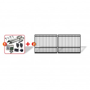 Square Top Gates (2x 2m) + Heavy Duty Linear Actuator Automation Kit