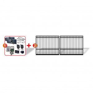 Square Top Gates (2x 2m) + Extra Heavy Duty Articulated Automation Kit
