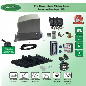 Extra Low Voltage 12V DC Heavy Duty FLOODPROOF Sliding Gate Kit with Magnetic Limit Switches
