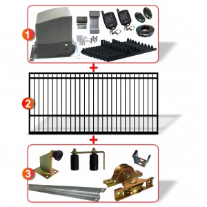 3m Square Top Gate including Hardware  + Heavy Duty 300kg Sliding gate system