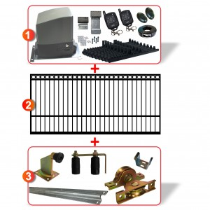 4m Ring Top Gate including Hardware  + Heavy Duty 300kg Sliding gate system