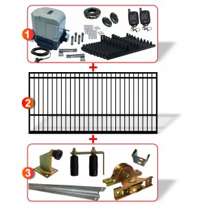 5m Square Top Gate including Hardware + Heavy Duty 800kg Sliding gate system