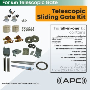 4m Telescopic Sliding Gate Hardware Complete Kit for Cladded Gate with 78mm Recess Mounted Wheels and More