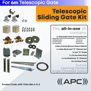 6m Telescopic Sliding Gate Hardware Complete Kit for Cladded Gate with Recess Mounted Wheels and More
