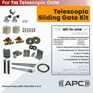 7m Telescopic Sliding Gate Complete Hardware Kit for Cladded Gate with 78mm Recess Mounted Wheels and More