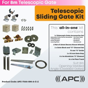 8m Telescopic Sliding Gate Complete Hardware Kit for Cladded Gate with Recess Mounted Wheels and More