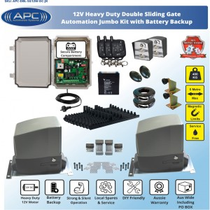 JUMBO KIT AC to 12V DC Double Flood Proof Sliding System, Metal Internal Gears and Magnetic Limit Switches