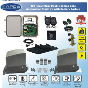 TRADE KIT AC to 12V DC Double Flood Proof Sliding System, Metal Internal Gears and Magnetic Limit Switches