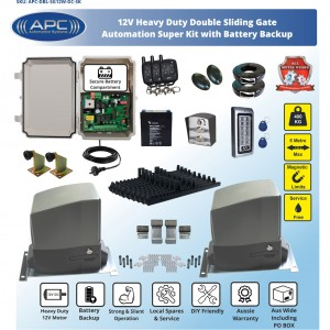 SUPER KIT AC to 12V DC Double Flood Proof Sliding System, Metal Internal Gears and Magnetic Limit Switches