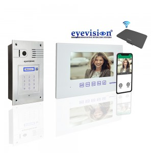 Flush Mount Aluminum Touch Keypad Outdoor Unit with Gloss White Slimline Indoor Monitor