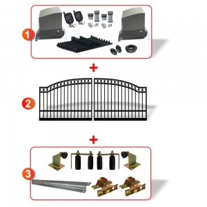 4.5m Arched Top Double Sliding Gate including Hardware  + Heavy Duty DUAL Sliding gate opener system