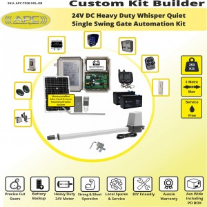 Build Your Own Kit with T550 Whisper Quiet Aluminum Linear Actuator Single Swing Solar Gate Opener