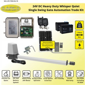 Whisper Quiet Aluminum Telescopic Linear Actuator Kit Single Swing Solar Powered Gate Opener
