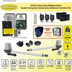 24V Heavy Duty Solar Powered Whisper Quiet Double Swing Gate Automation Wireless Controller Kit Solar Gate Opener