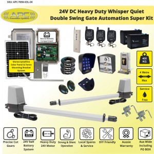 Heavy Duty Whisper Quiet Telescopic Linear Actuator Kit Solar Powered Gate Automation System