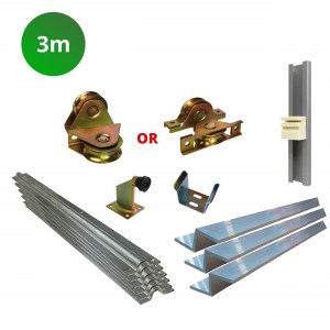 3m Complete Cladded Sliding Gate Hardware Kit with Z Channel