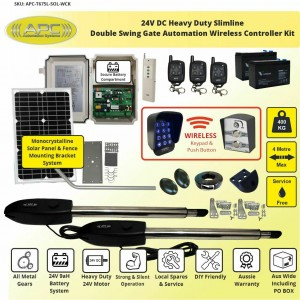 24V Heavy Duty Solar Powered Slimline Double Swing Gate Automation Wireless Controller Kit
