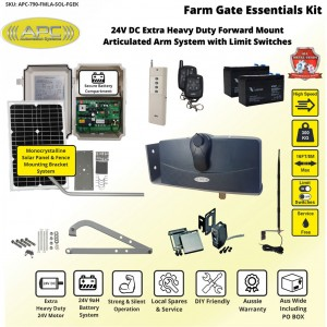 High Speed Articulated Arm Farm Gate System, Limit Switches , All Metal Gears with Forward Mount Kit