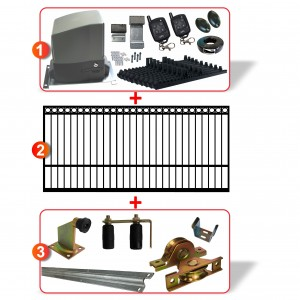 3m Ring Top Gate with Gate Hardware and Heavy Duty 300kg Sliding Gate Opener System All In One Kit
