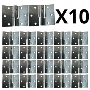 10x Bulk, Galvanized Right Side Bolt-On/Bolt-On Hinges Set