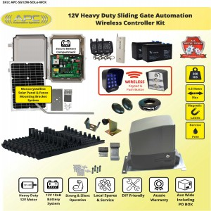 Standalone Solar 12V  Heavy Duty  FLOODPROOF Sliding Gate Kit with Magnetic Limit Switches
