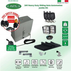 Low Voltage 24V DC Extra Heavy Duty Sliding Gate Opener Kit with Encoder System