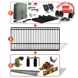 5m Square Top Gate including Hardware  + Heavy Duty Italian 400kg Sliding gate system (Two Weeks Lead Time After Order)