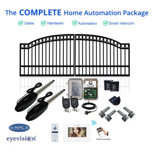 Arch Top Double Swing Gate Kit with Smartphone Intercom Kit