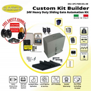 Build Your Own Kit with APC Proteous 400 -  Italian Made 24V DC Extra Heavy Duty Standalone Solar Sliding Gate Kit with Encoder System