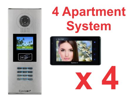 Multi Key LCD Outdoor Station -  4 Apartment System Complete Package with 7 Inch Monitors