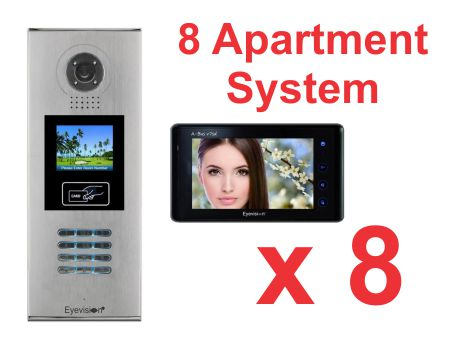 Multi Key LCD Outdoor Station -  8 Apartment System Complete Package with 7 Inch Monitors