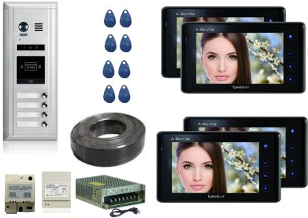 Direct Button Outdoor Station -  4 Apartment System Complete Package with 7 Inch Monitors