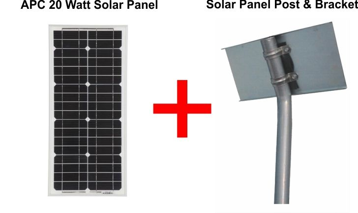 24v 20 Watts Solar Panel With Solar Panel Post & Bracket