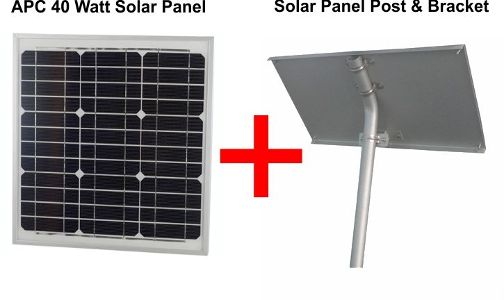 24v 40 Watts Solar Panel With Solar Panel Post & Bracket