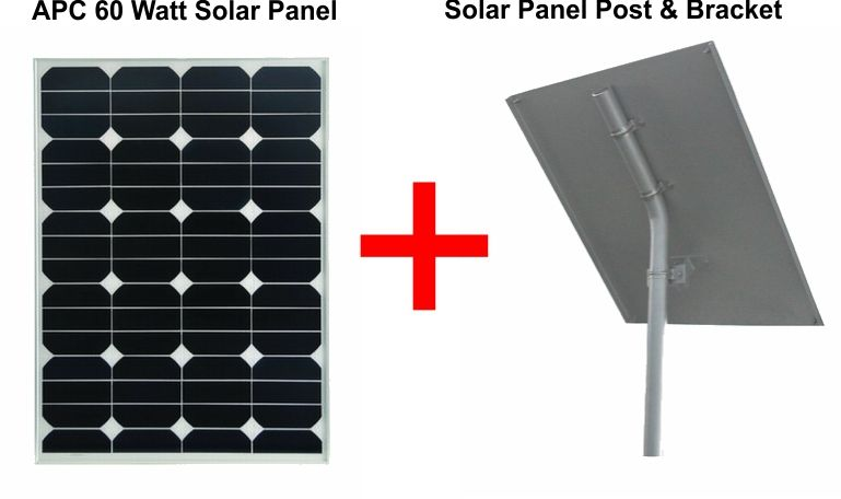 24v 60 Watts Solar Panel With Solar Panel Post & Bracket