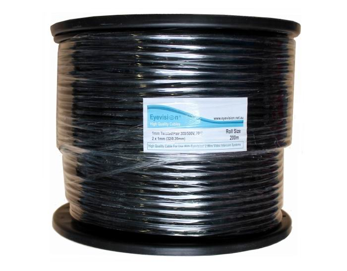 200m Cable, Twisted pair 1mm thick for use with the Eyevision 2 wire systems
