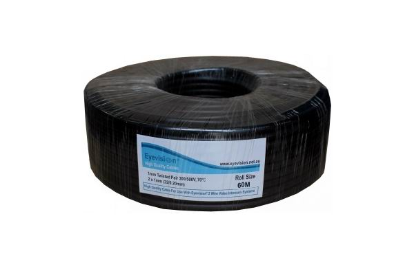 60m Cable, Twisted pair 1mm thick for use with the Eyevision 2 wire systems